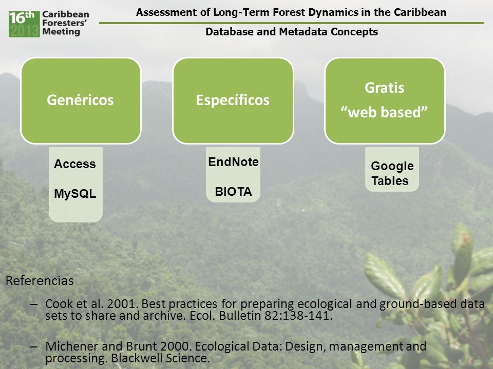 Assessment of Long-Term Forest Dynamics in the Caribbean Database and Metadata Concepts GenéricosEspecíficos Gratis web based Access MySQL EndNote BIOTA Google Tables Referencias – Cook et al.