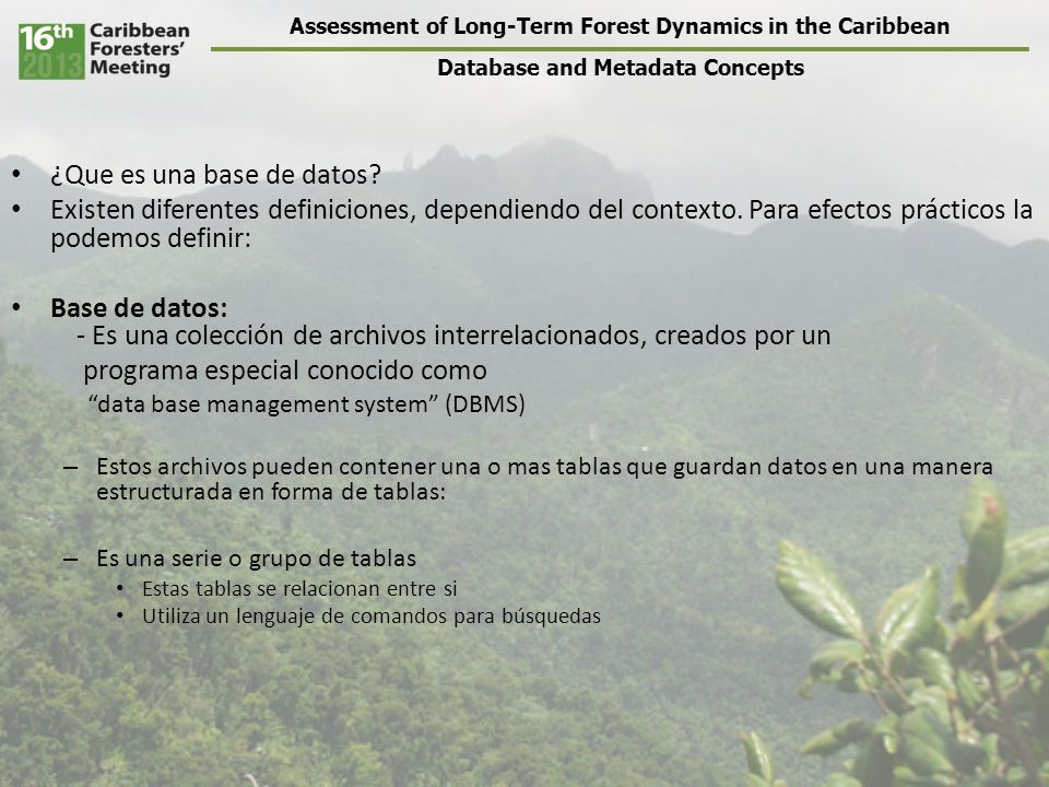 Assessment of Long-Term Forest Dynamics in the Caribbean Database and Metadata Concepts ¿Que es una base de datos.