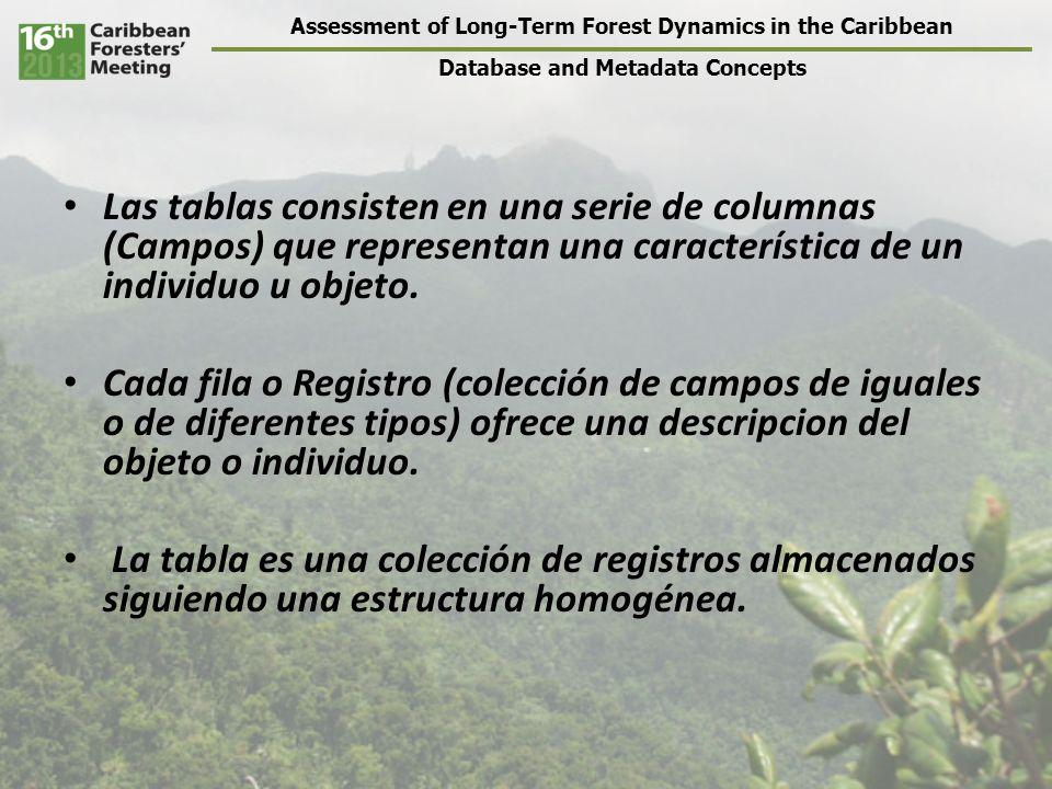 Assessment of Long-Term Forest Dynamics in the Caribbean Database and Metadata Concepts Fechas DATETIMEYYYY-MM-DD HH:MM:SS2006-11-28 45:30:15 DATEYYYY-MM-DD2006-11-28 TIMESTAMPSegundos que han pasado desde t 0 38 TIMEHH:MM:SS45:30:15 YEARYYYY2006 Ejemplos de tipos de datos (dependen del programa en uso) FechaSitioColector datosID 2006-07-15AKaren Hernández28 2006-07-15AChristopher Torres15 2006-07-15BKaren Hernández28 2006-07-16CKaren Hernández28 Hay otros tipos de columnas, y mas información sobre estos en http://dev.mysql.com/doc