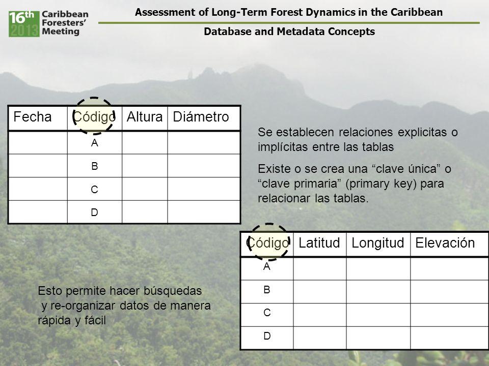 Assessment of Long-Term Forest Dynamics in the Caribbean Database and Metadata Concepts Relaciones entre las tablas – Cada dato individual se entra una sola vez – Las columnas pueden corresponder a otras tablas, y las filas corresponden a registros de datos individuales Por lo tanto – Cada registro individual en una tabla puede estar ligado/relacionado a uno o muchos registros en otras tablas