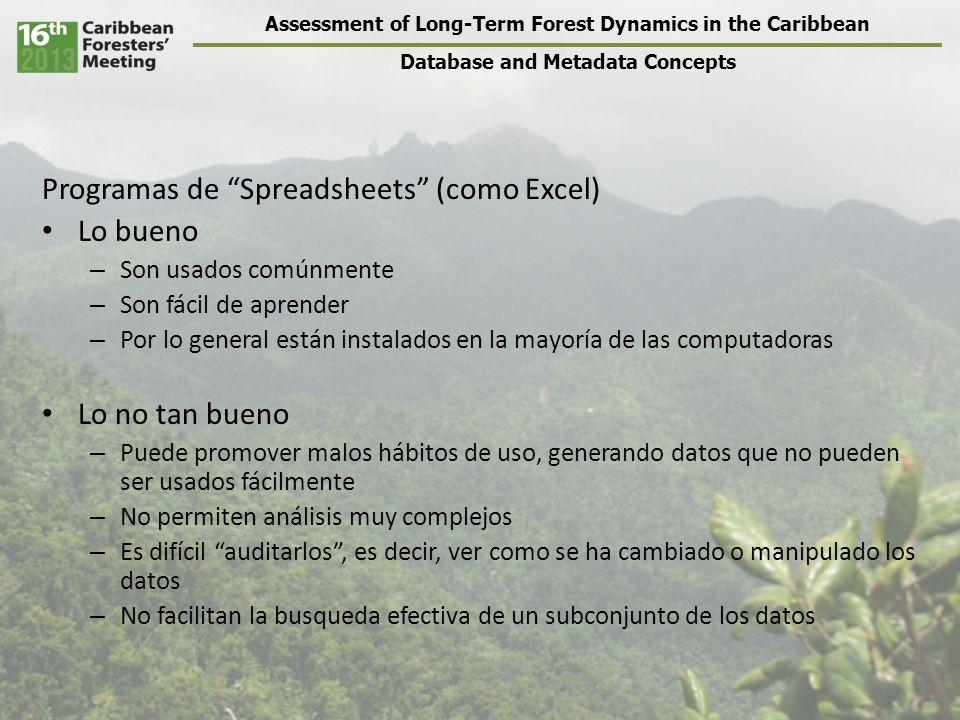 Assessment of Long-Term Forest Dynamics in the Caribbean Database and Metadata Concepts Métodos para diseño efectivo – Dividir los datos en tablas – Determinar el tipo de dato de cada columna – Identificar las relaciones entre las tablas