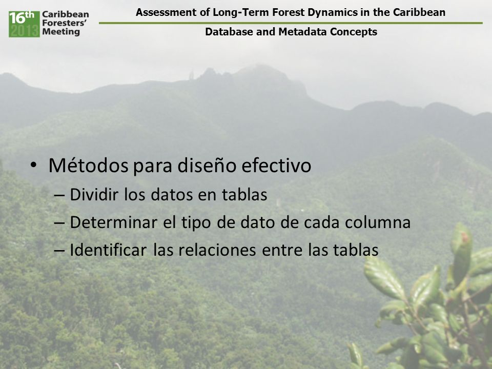 Assessment of Long-Term Forest Dynamics in the Caribbean Database and Metadata Concepts Métodos para diseño efectivo – Dividir los datos en tablas – Determinar el tipo de dato de cada columna – Identificar las relaciones entre las tablas