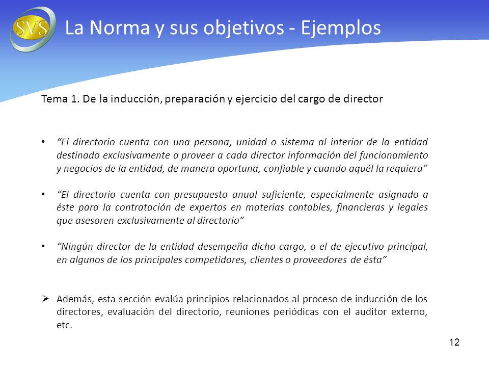 Tema 1. De la inducción, preparación y ejercicio del cargo de director El directorio cuenta con una persona, unidad o sistema al interior de la entida
