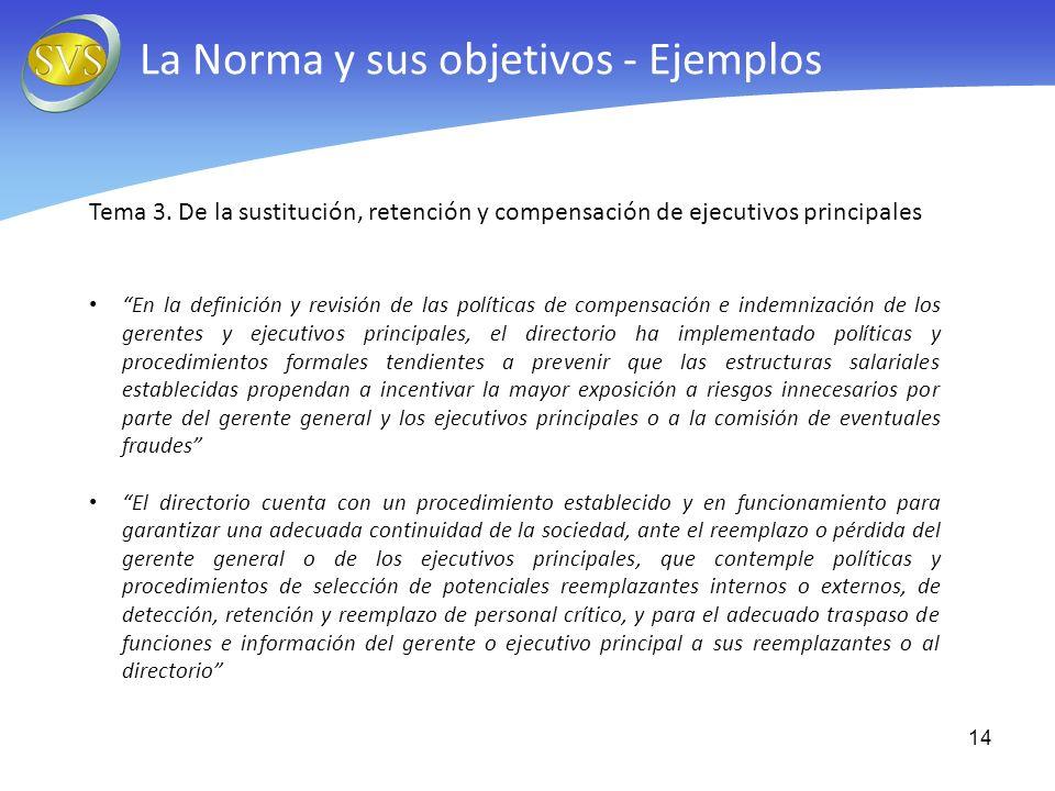 Tema 3. De la sustitución, retención y compensación de ejecutivos principales En la definición y revisión de las políticas de compensación e indemniza