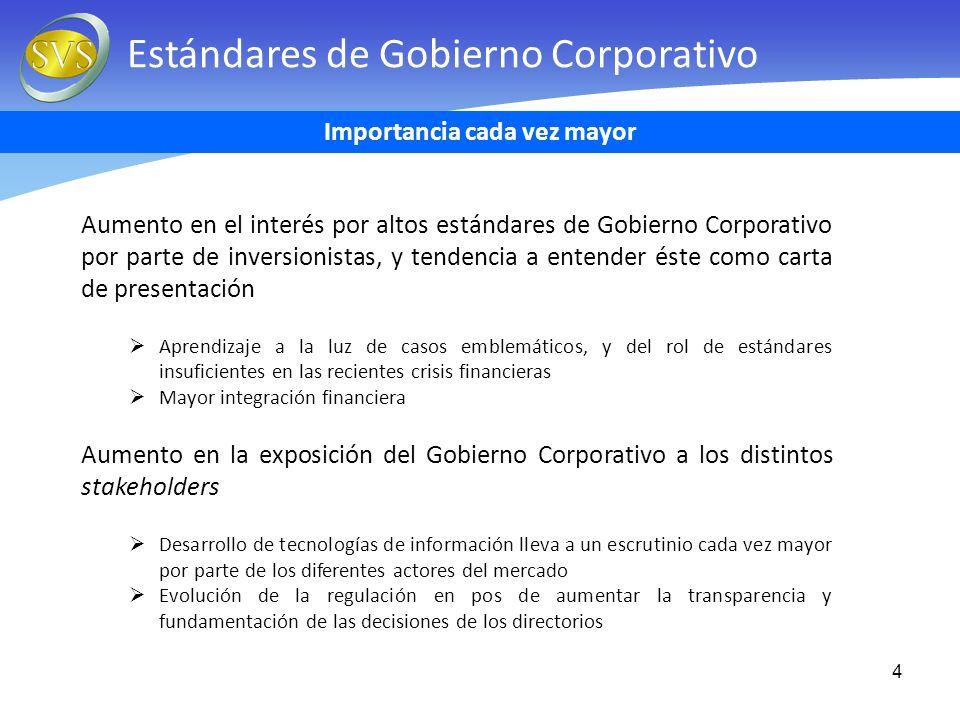 4 Estándares de Gobierno Corporativo Aumento en el interés por altos estándares de Gobierno Corporativo por parte de inversionistas, y tendencia a ent