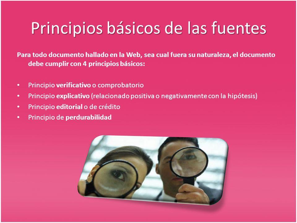 Principios básicos de las fuentes Para todo documento hallado en la Web, sea cual fuera su naturaleza, el documento debe cumplir con 4 principios básicos: Principio verificativo o comprobatorio Principio explicativo (relacionado positiva o negativamente con la hipótesis) Principio editorial o de crédito Principio de perdurabilidad
