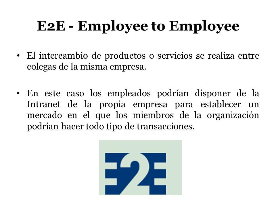 E2E - Employee to Employee El intercambio de productos o servicios se realiza entre colegas de la misma empresa. En este caso los empleados podrían di