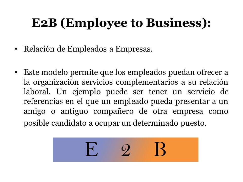 E2B (Employee to Business): Relación de Empleados a Empresas. Este modelo permite que los empleados puedan ofrecer a la organización servicios complem
