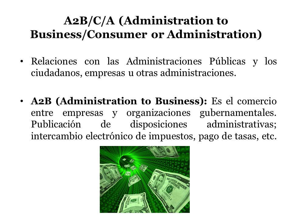 A2B/C/A (Administration to Business/Consumer or Administration) Relaciones con las Administraciones Públicas y los ciudadanos, empresas u otras admini