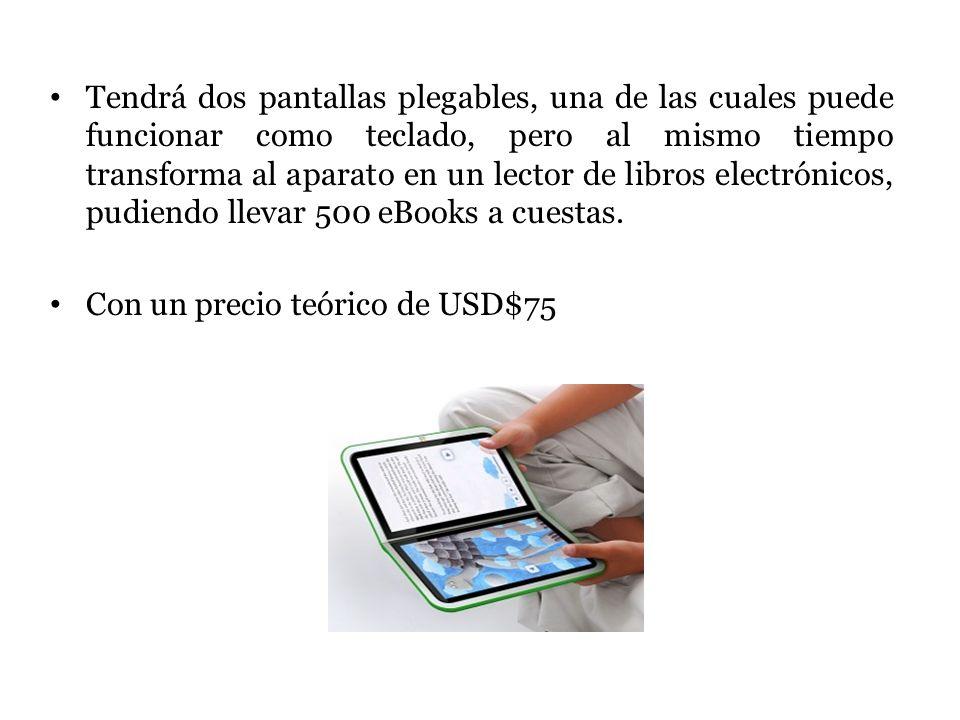 Tendrá dos pantallas plegables, una de las cuales puede funcionar como teclado, pero al mismo tiempo transforma al aparato en un lector de libros elec