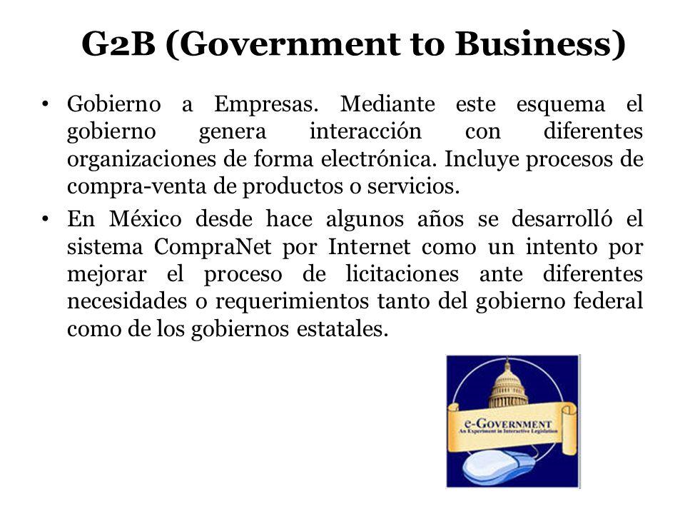 G2B (Government to Business) Gobierno a Empresas. Mediante este esquema el gobierno genera interacción con diferentes organizaciones de forma electrón