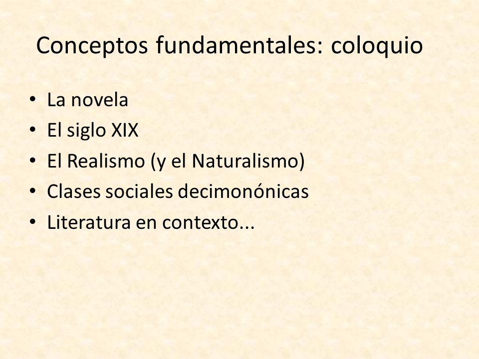 Conceptos fundamentales: coloquio La novela El siglo XIX El Realismo (y el Naturalismo) Clases sociales decimonónicas Literatura en contexto...