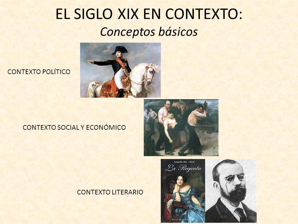 EL SIGLO XIX EN CONTEXTO: Conceptos básicos CONTEXTO POLÍTICO CONTEXTO SOCIAL Y ECONÓMICO CONTEXTO LITERARIO