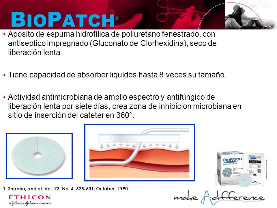 B IO P ATCH ® 1. Shapiro, and al: Vol. 73, No. 4, 625-631, October, 1990 Apósito de espuma hidrofílica de poliuretano fenestrado, con antiseptico impr