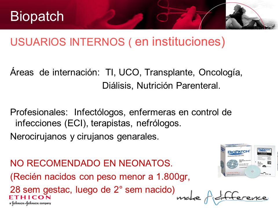 Biopatch USUARIOS INTERNOS ( en instituciones) Áreas de internación: TI, UCO, Transplante, Oncología, Diálisis, Nutrición Parenteral. Profesionales: I