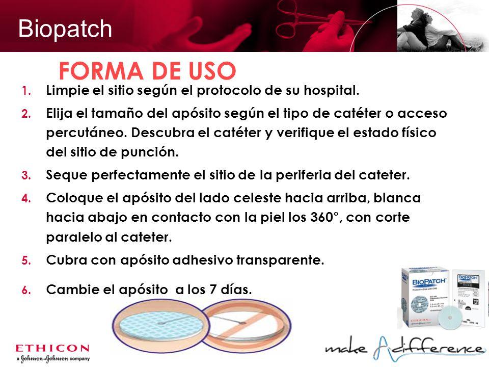 Biopatch 1. Limpie el sitio según el protocolo de su hospital. 2. Elija el tamaño del apósito según el tipo de catéter o acceso percutáneo. Descubra e