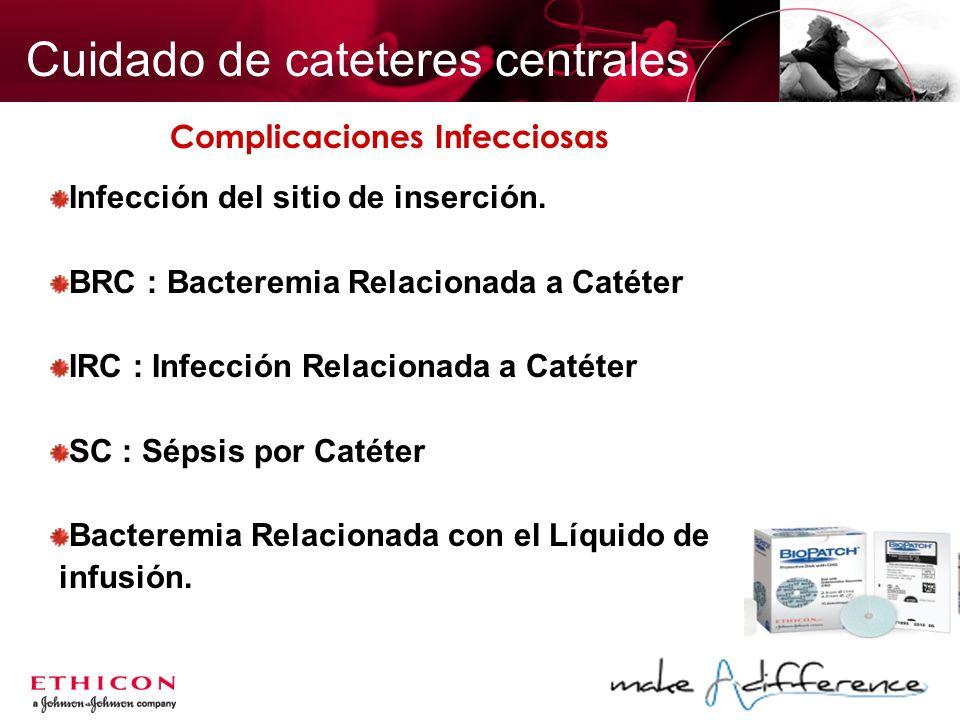 Complicaciones Infecciosas Infección del sitio de inserción. BRC : Bacteremia Relacionada a Catéter IRC : Infección Relacionada a Catéter SC : Sépsis