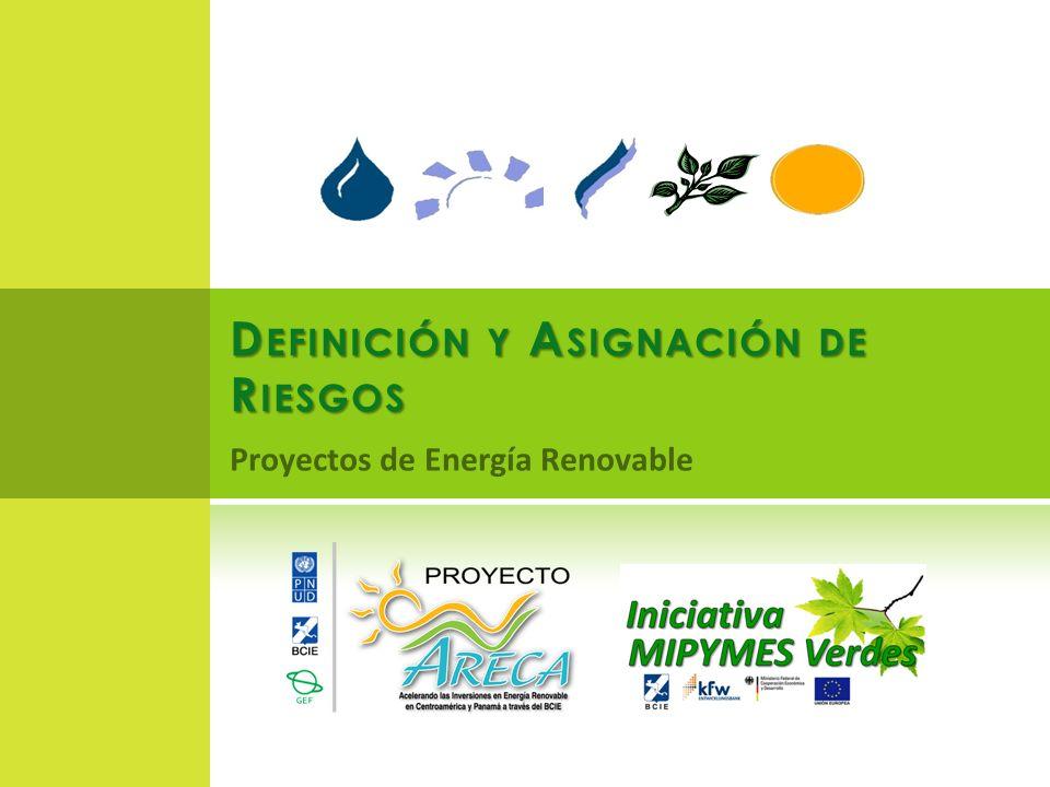 D EFINICIÓN Y A SIGNACIÓN DE R IESGOS Proyectos de Energía Renovable