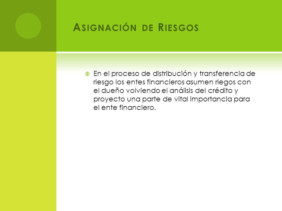 A SIGNACIÓN DE R IESGOS En el proceso de distribución y transferencia de riesgo los entes financieros asumen riegos con el dueño volviendo el análisis del crédito y proyecto una parte de vital importancia para el ente financiero.