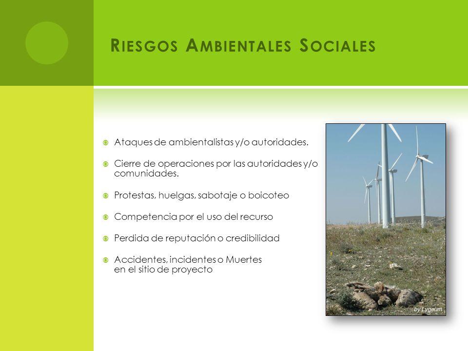 R IESGOS A MBIENTALES S OCIALES Ataques de ambientalistas y/o autoridades.