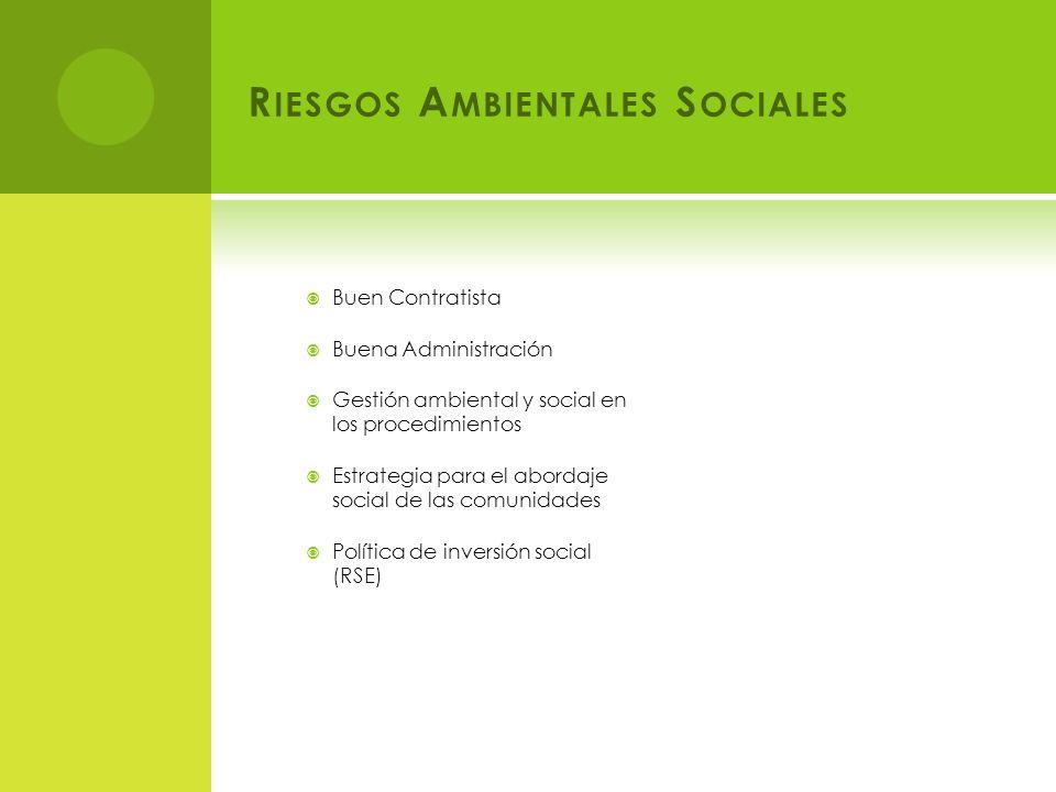 R IESGOS A MBIENTALES S OCIALES Buen Contratista Buena Administración Gestión ambiental y social en los procedimientos Estrategia para el abordaje social de las comunidades Política de inversión social (RSE)