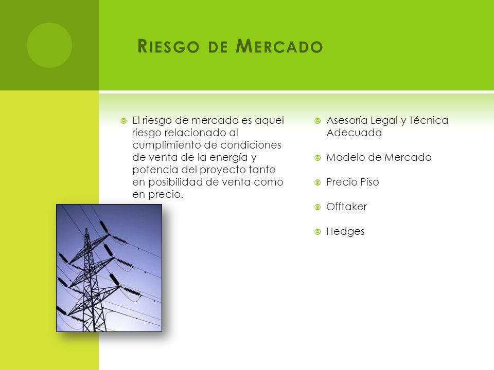 R IESGO DE M ERCADO El riesgo de mercado es aquel riesgo relacionado al cumplimiento de condiciones de venta de la energía y potencia del proyecto tanto en posibilidad de venta como en precio.