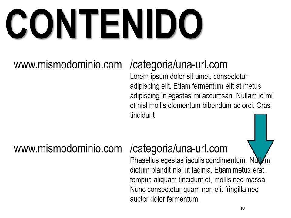 10 CONTENIDO www.mismodominio.com/categoria/una-url.com Lorem ipsum dolor sit amet, consectetur adipiscing elit.