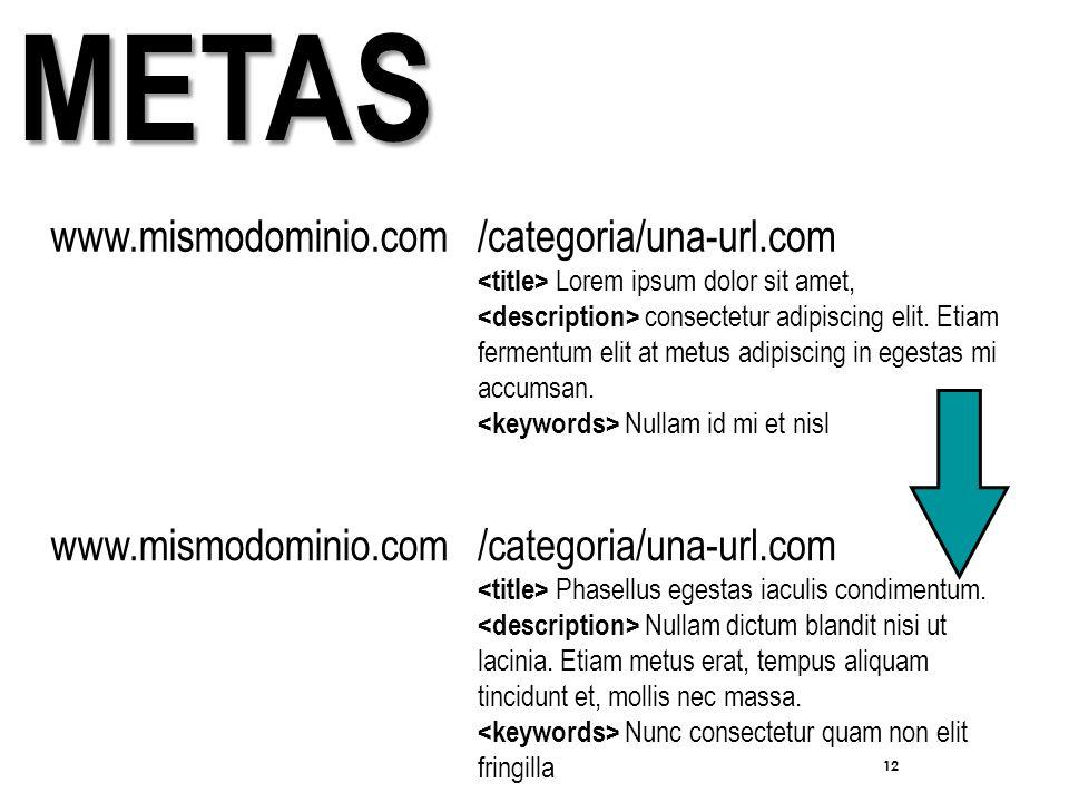 12 METAS www.mismodominio.com/categoria/una-url.com Lorem ipsum dolor sit amet, consectetur adipiscing elit.