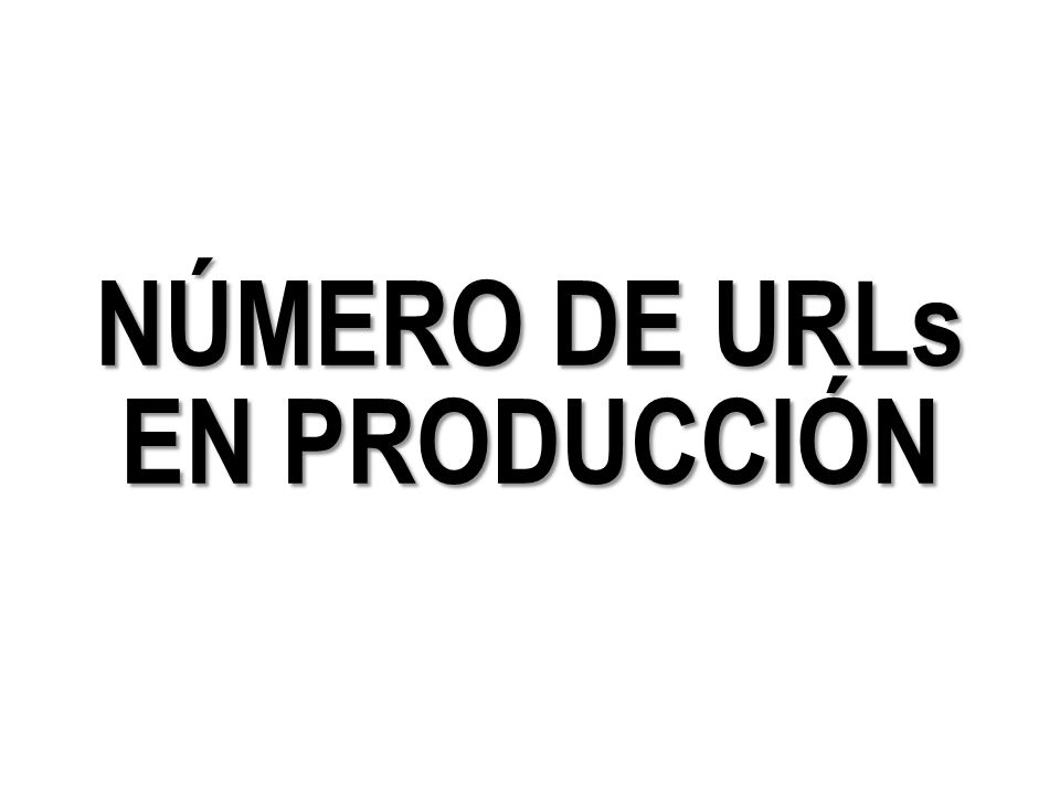 NÚMERO DE URLs EN PRODUCCIÓN