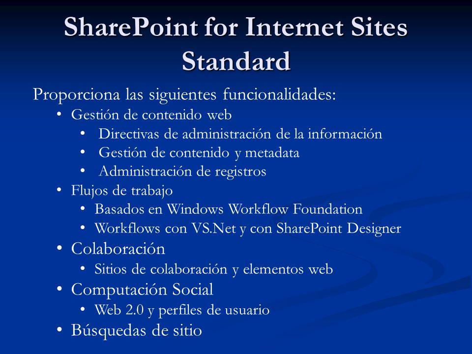 Proporciona las siguientes funcionalidades: Gestión de contenido web Directivas de administración de la información Gestión de contenido y metadata Ad