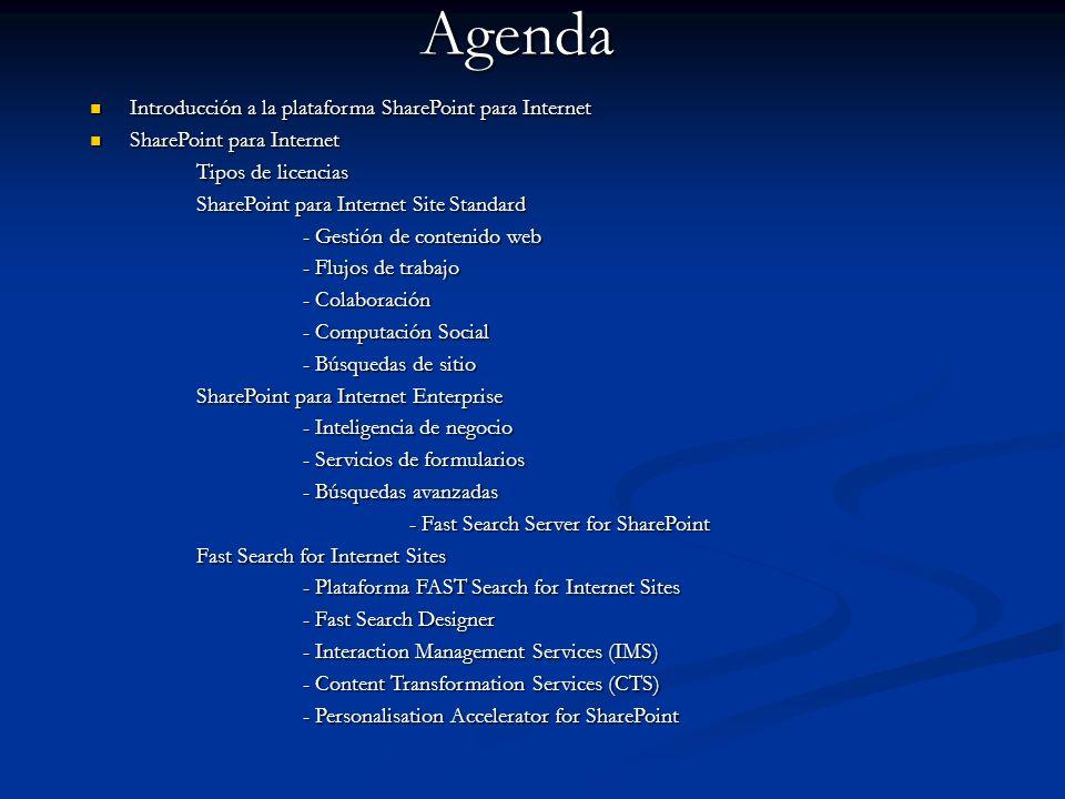 Agenda Introducción a la plataforma SharePoint para Internet Introducción a la plataforma SharePoint para Internet SharePoint para Internet SharePoint