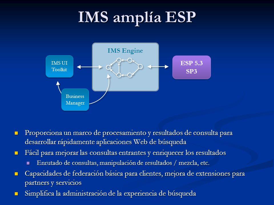 IMS amplía ESP Proporciona un marco de procesamiento y resultados de consulta para desarrollar rápidamente aplicaciones Web de búsqueda Proporciona un