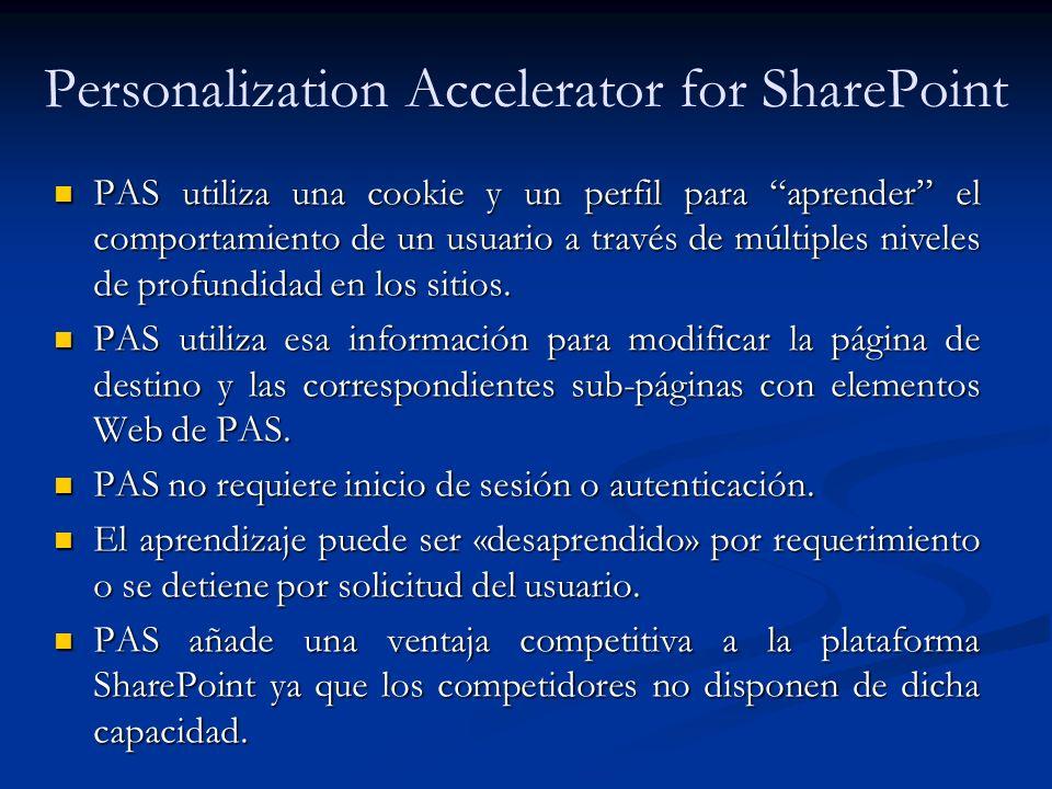 Personalization Accelerator for SharePoint PAS utiliza una cookie y un perfil para aprender el comportamiento de un usuario a través de múltiples nive