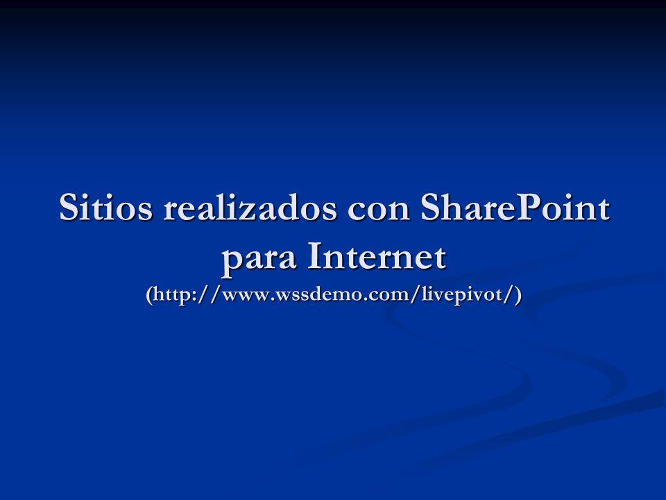 Sitios realizados con SharePoint para Internet (http://www.wssdemo.com/livepivot/)