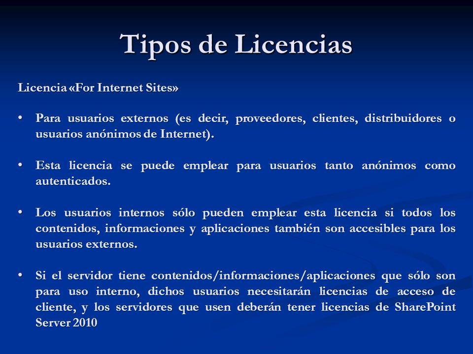 Tipos de Licencias Licencia «For Internet Sites» Para usuarios externos (es decir, proveedores, clientes, distribuidores o usuarios anónimos de Intern