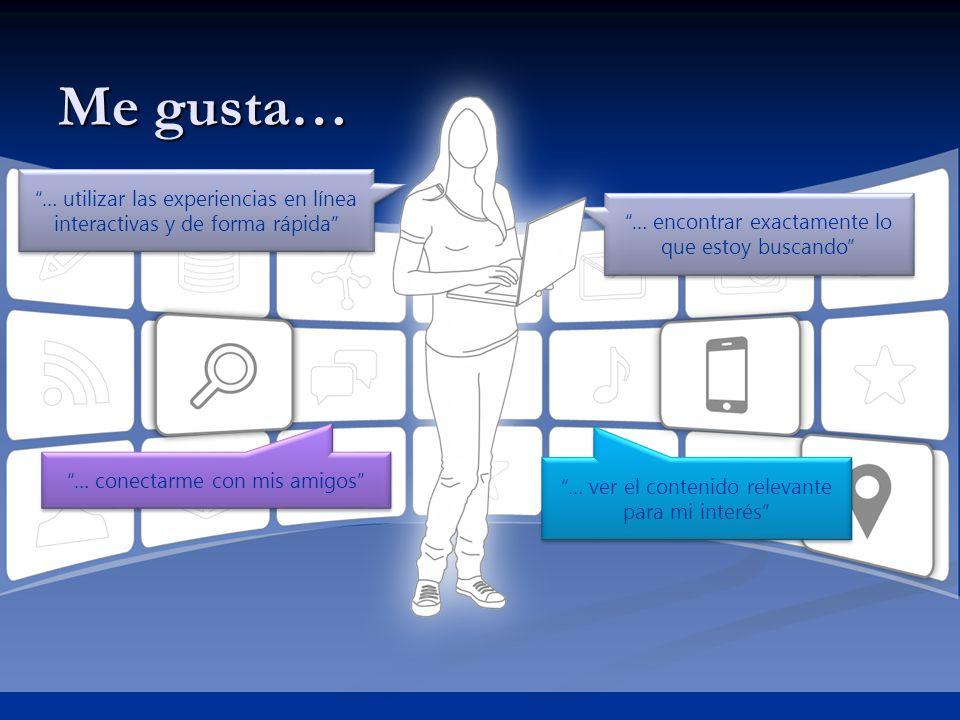 Me gusta… … utilizar las experiencias en línea interactivas y de forma rápida … encontrar exactamente lo que estoy buscando … conectarme con mis amigo