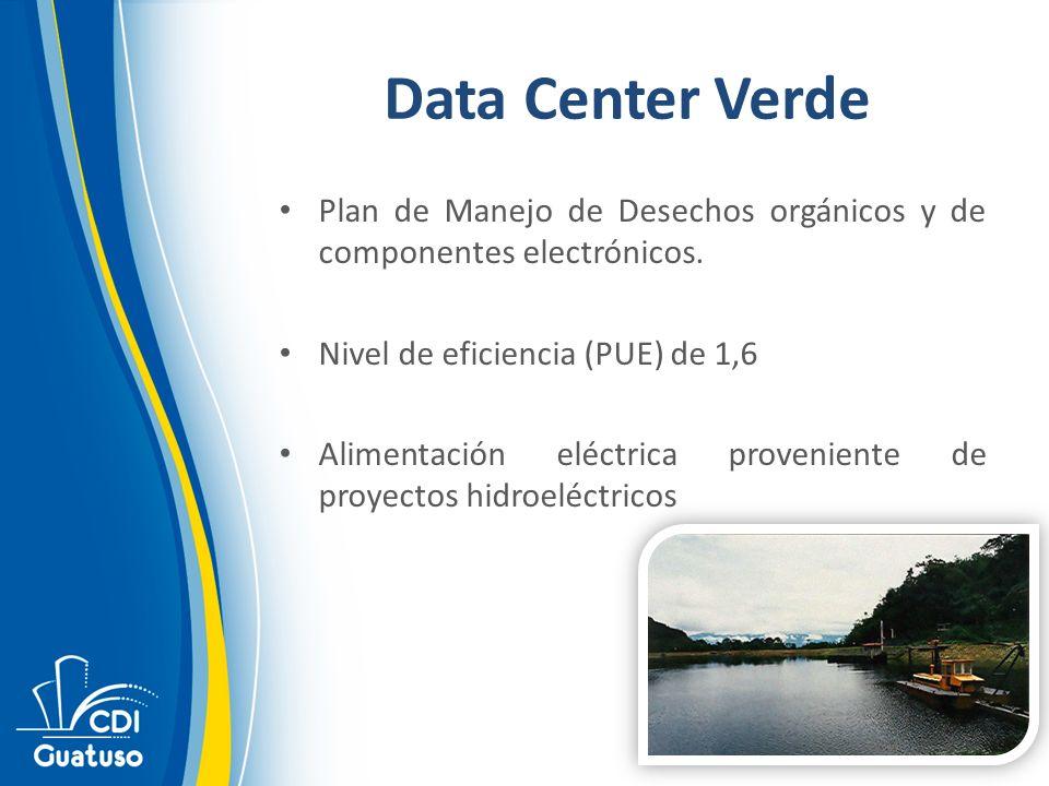 Data Center Verde Plan de Manejo de Desechos orgánicos y de componentes electrónicos. Nivel de eficiencia (PUE) de 1,6 Alimentación eléctrica provenie