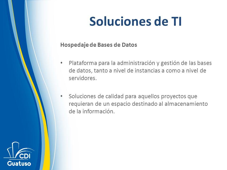 Soluciones de TI Hospedaje de Bases de Datos Plataforma para la administración y gestión de las bases de datos, tanto a nivel de instancias a como a nivel de servidores.