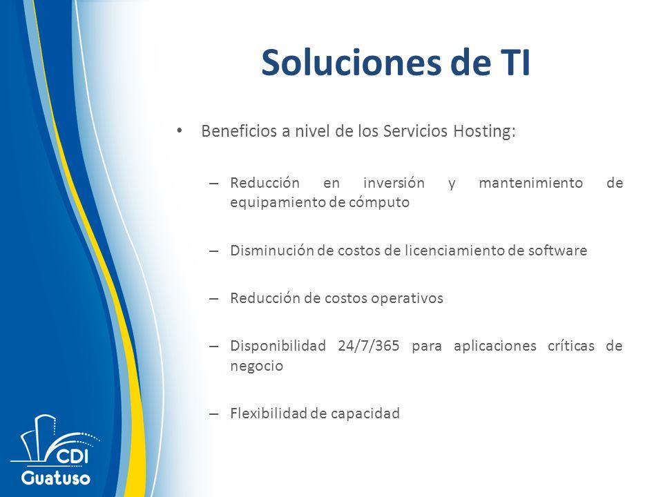 Soluciones de TI Beneficios a nivel de los Servicios Hosting: – Reducción en inversión y mantenimiento de equipamiento de cómputo – Disminución de cos