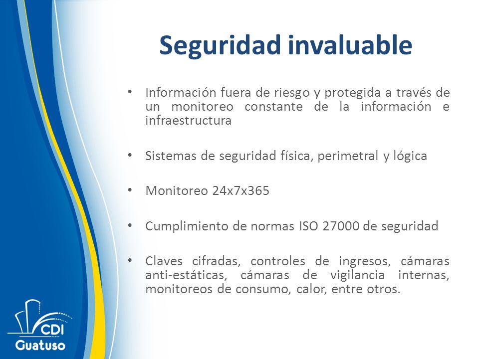 Seguridad invaluable Información fuera de riesgo y protegida a través de un monitoreo constante de la información e infraestructura Sistemas de seguri