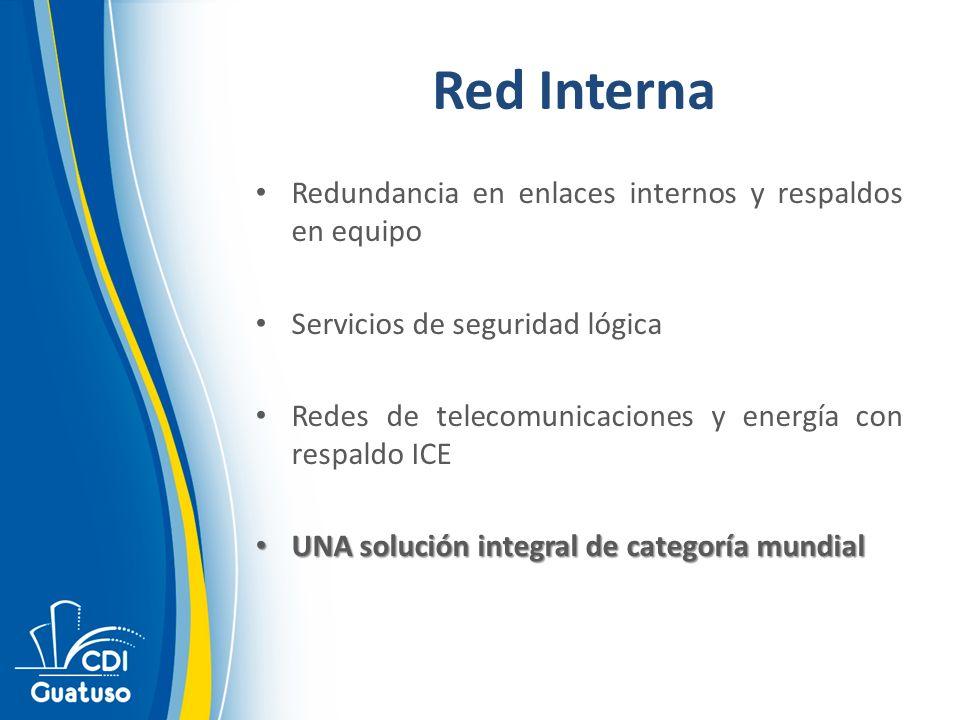 Red Interna Redundancia en enlaces internos y respaldos en equipo Servicios de seguridad lógica Redes de telecomunicaciones y energía con respaldo ICE