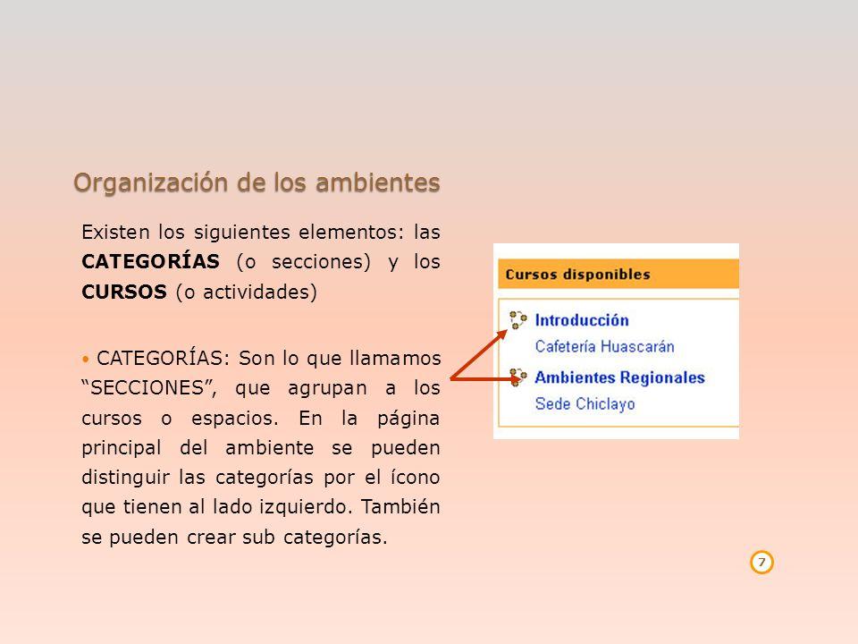 Organización de los ambientes Existen los siguientes elementos: las CATEGORÍAS (o secciones) y los CURSOS (o actividades) CATEGORÍAS: Son lo que llama
