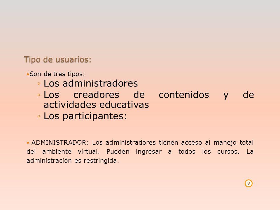 Tipo de usuarios: Son de tres tipos: Los administradores Los creadores de contenidos y de actividades educativas Los participantes: ADMINISTRADOR: Los