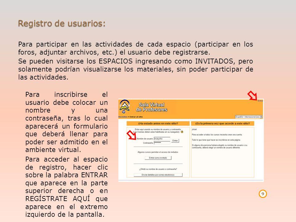 Registro de usuarios: Para participar en las actividades de cada espacio (participar en los foros, adjuntar archivos, etc.) el usuario debe registrars