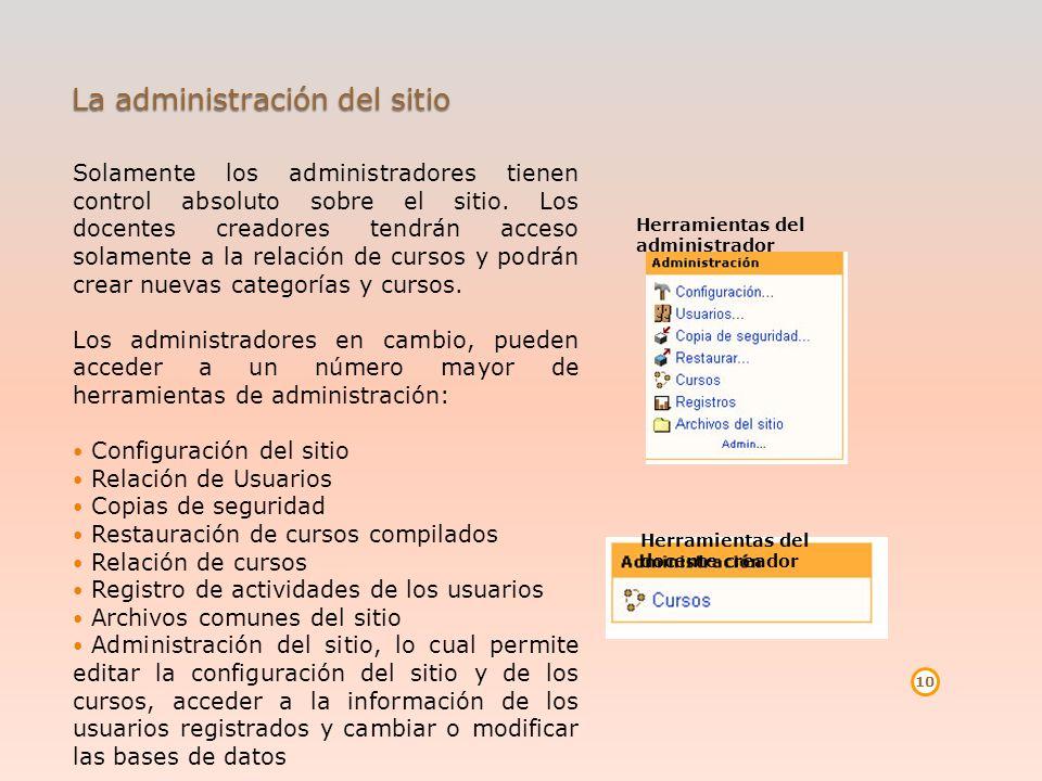 La administración del sitio Solamente los administradores tienen control absoluto sobre el sitio. Los docentes creadores tendrán acceso solamente a la