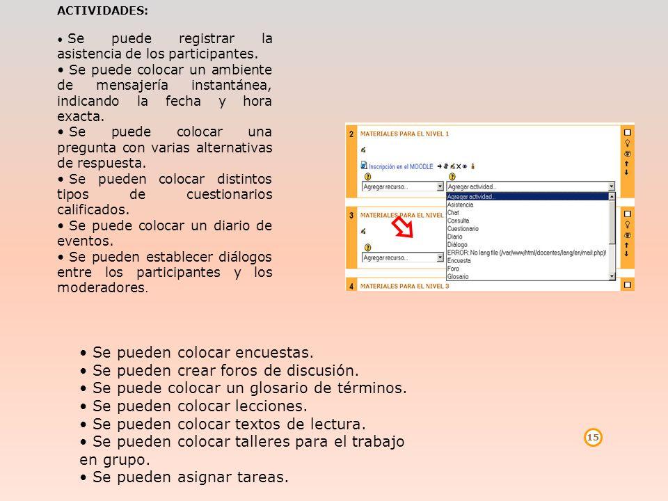 15 ACTIVIDADES: Se puede registrar la asistencia de los participantes. Se puede colocar un ambiente de mensajería instantánea, indicando la fecha y ho