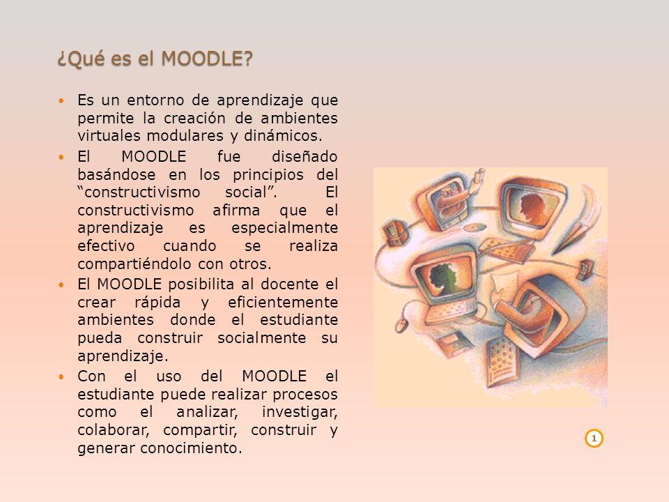 ¿Qué es el MOODLE? Es un entorno de aprendizaje que permite la creación de ambientes virtuales modulares y dinámicos. El MOODLE fue diseñado basándose