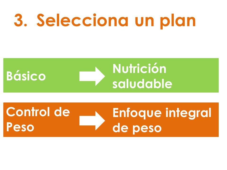 3.Selecciona un plan Básico Control de Peso Nutrición saludable Enfoque integral de peso