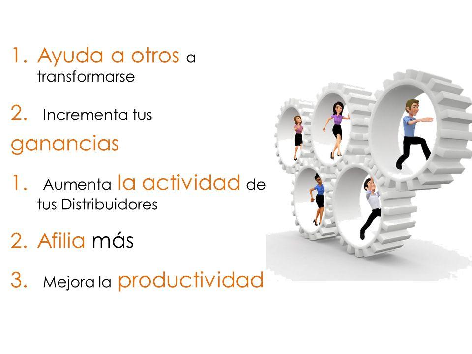 1.Ayuda a otros a transformarse 2. Incrementa tus ganancias 1. Aumenta la actividad de tus Distribuidores 2.Afilia más 3. Mejora la productividad