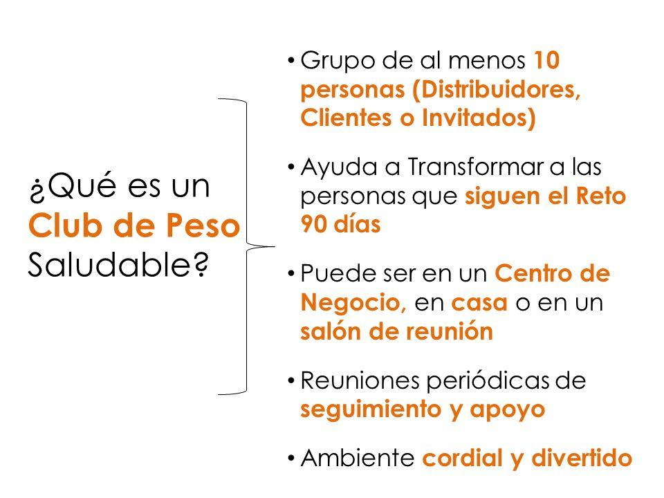¿Qué es un Club de Peso Saludable? Grupo de al menos 10 personas (Distribuidores, Clientes o Invitados) Ayuda a Transformar a las personas que siguen